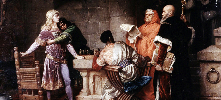 Conradin receives his death sentence while playing chess