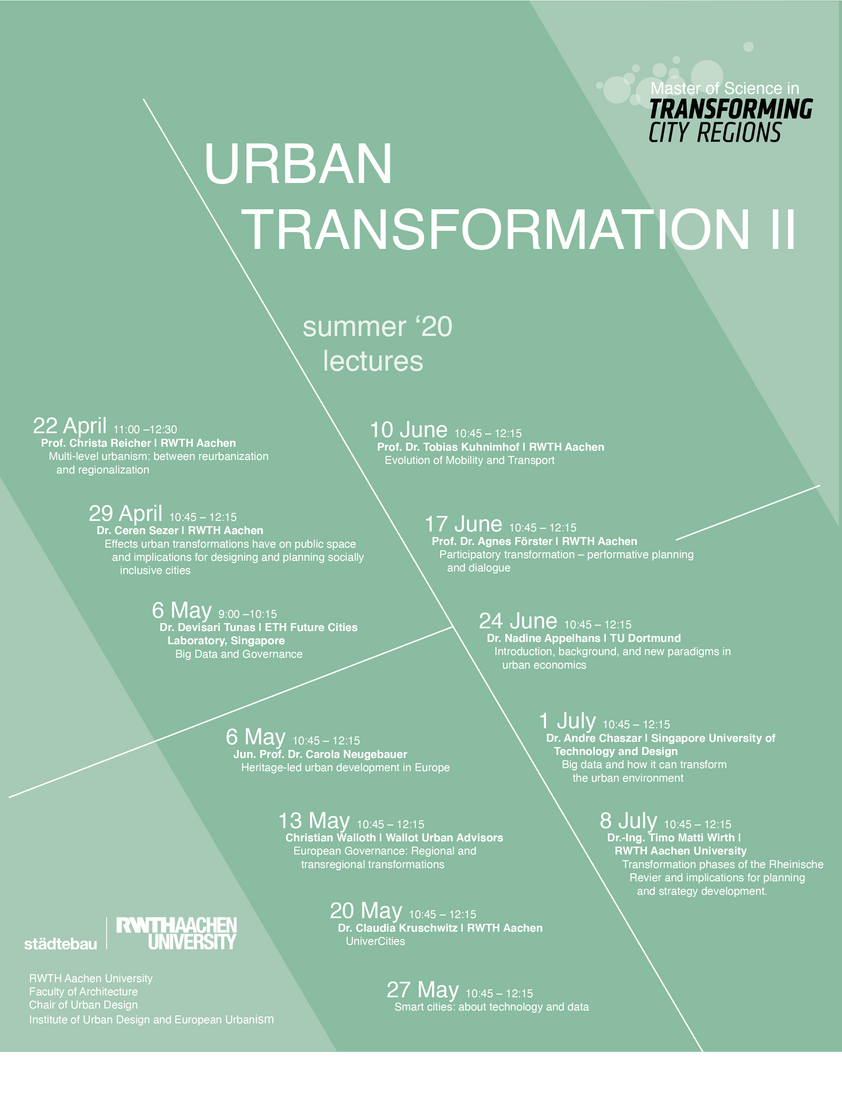 TCR Modul 'Urban Transformation' Seminare
