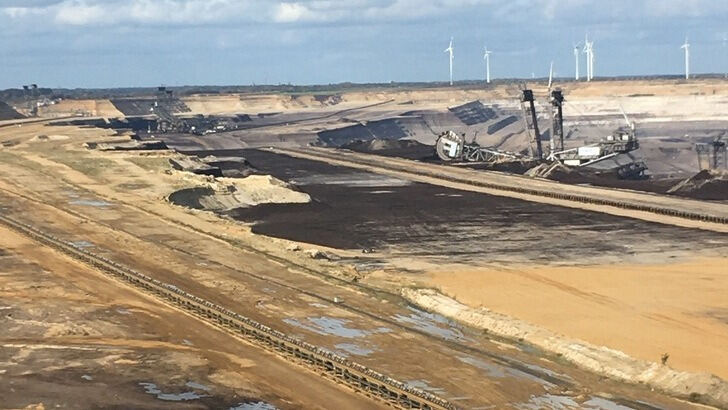 Open pit landscape - bucket wheel excavator